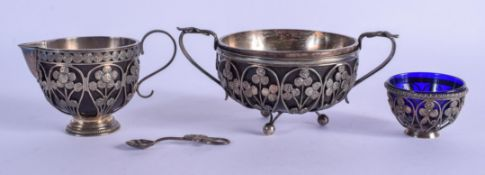 AN UNUSUAL ARTS AND CRAFTS EUROPEAN WHITE METAL BOWL with matching salt etc. Metal 340 grams. Larges