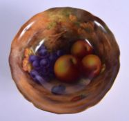 Royal Worcester fine bowl painted with fruit by Horace Price, signed H. H. Price dated 1937. 8.5cm