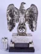 A LARGE GERMAN SILVER PLATED BRONZE AND MARBLE EAGLE CENTREPIECE formed over a swastika. 44 cm x 24