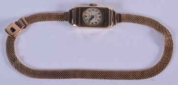 A VINTAGE 9CT GOLD ROLEX WRISTWATCH with 9ct gold strap. 15 grams overall. Dial 1.25 cm x 2.25 cm.