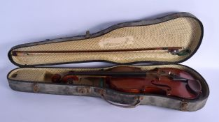 A CASED TWO PIECE BACK VIOLIN with bow. 56 cm long. (2)