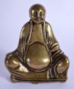 A 17TH/18TH CENTURY POLISHED ASIAN BRONZE FIGURE OF A BUDDHA Chinese or Korean. 13 cm x 9 cm.