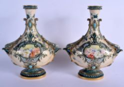 Royal Worcester pair of vases decorated in Art Nouveau style jewels and bird's heads date code for 1