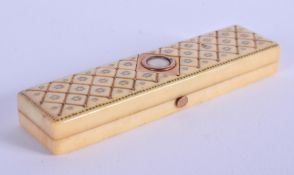A GEORGE III IVORY BOX inlaid with gold. 8 cm x 1.5 cm.