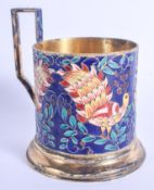 A RARE EARLY 20TH CENTURY RUSSIAN SILVER AND ENAMEL CUP HOLDER decorated with birds. 184 grams. 12 c