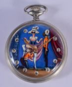 A VINTAGE DOXA EROTIC POCKET WATCH the contemporary dial depicting a risqué scene. 5.25 cm diameter.