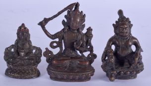THREE SOUTH EAST ASIAN CHINESE BRONZE BUDDHAS. Largest 7 cm x 4 cm. (3)