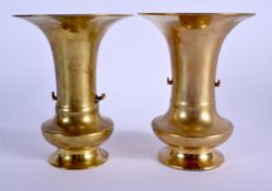 A PAIR OF 19TH CENTURY JAPANESE MEIJI PERIOD BRONZE VASES. 16 cm high.