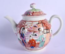 18th c. Worcester teapot and cover painted with oriental near a house and lake with boats in it. 1