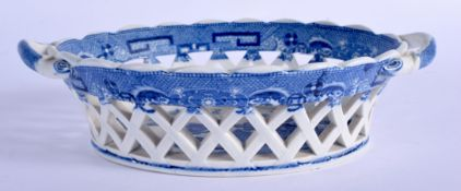 Early 19th c. good pottery two handled basket probably Spode printed with a chinoiserie scene. 5.5c