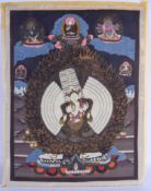 A 19TH CENTURY CHINESE SINO TIBETAN PAINTED THANGKA WATERCOLOUR depicting Buddhistic scenes. Image 5