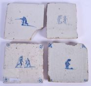 FOUR 18TH CENTURY DUTCH BLUE AND WHITE TILES. 12 cm square. (4)