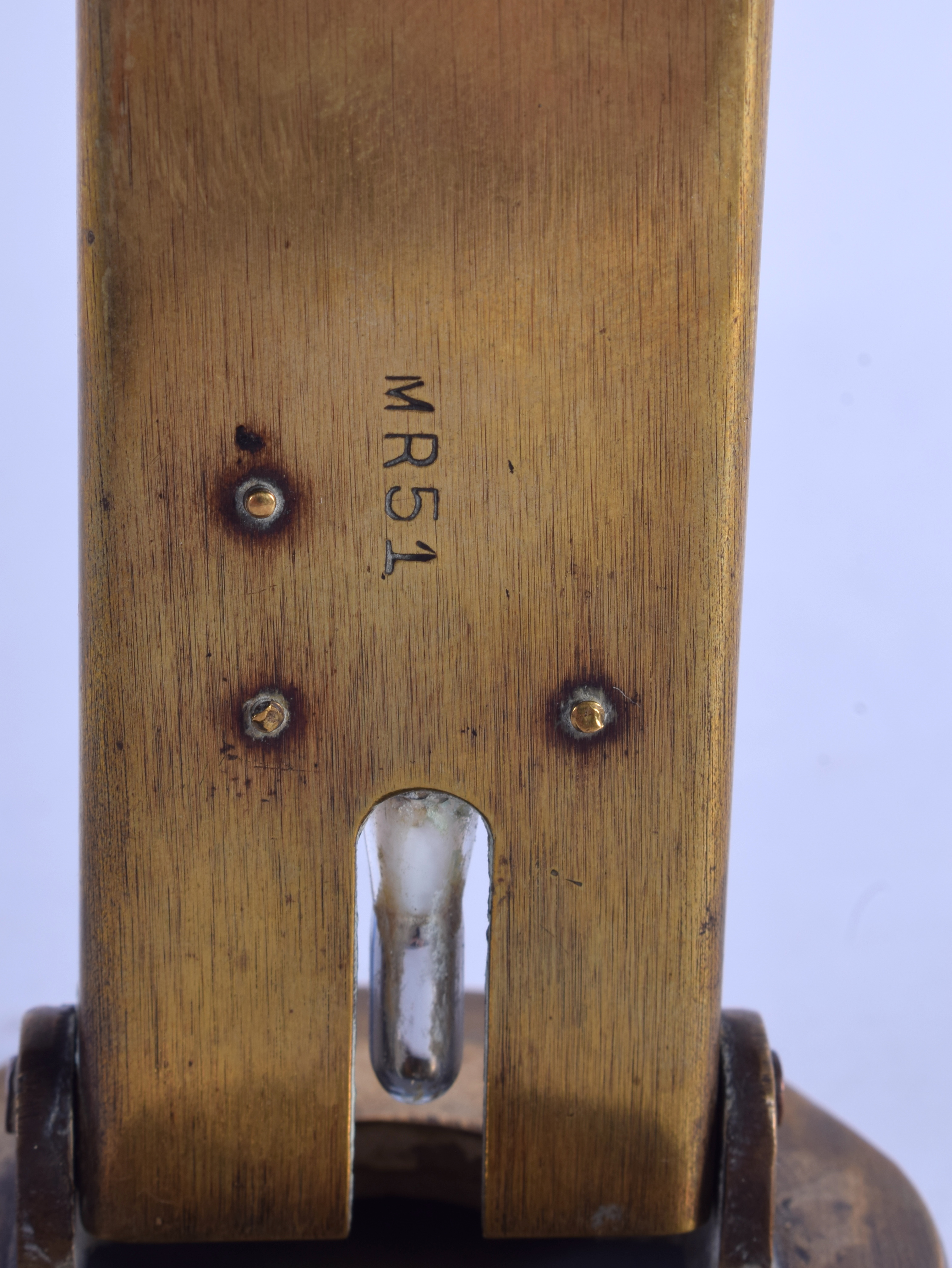 A RARE ANTIQUE BRASS BAKING TEMPERATURE THERMOMETER. 18 cm high. - Image 3 of 4