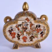 A 19TH CENTURY JAPANESE MEIJI PERIOD SATSUMA FLASK AND COVER painted with children playing. 11 cm x