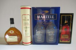 2 1 litre bottles of Martell Fine Cognac, boxed, together with La Ruche 5 year old Grape Brandy,
