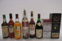 A quantity of liqueurs and spirits comprising 1 boxed bottle 12 year old Chivas Regal, 1 boxed