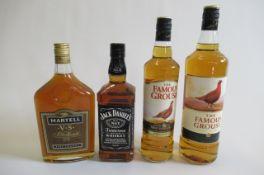 1 litre Famous Grouse blended Whisky, 1 bottle Famous Grouse Whisky, 1 bottle Jack Daniel's No.7,