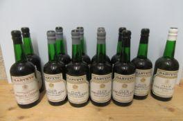 12 bottles of Harveys Sherry, comprising 9 bottles Club Amontillado medium dry, 1 bottle Club