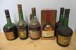 1 bottle Courvoisier Luxe cognac, boxed, 1 bottle Courvoisier VSOP cognac, 2 bottles Gaston De
