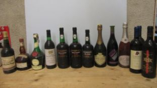 13 bottles of mixed wines and liqueurs, comprising 2 1litre bottles of Cockburn's Special Reserve