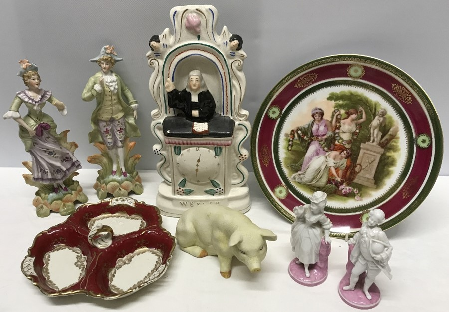 Lot 6 - Ceramics including Vienna plate, pair 19thC pink & white continental bisque pig figures, Alka