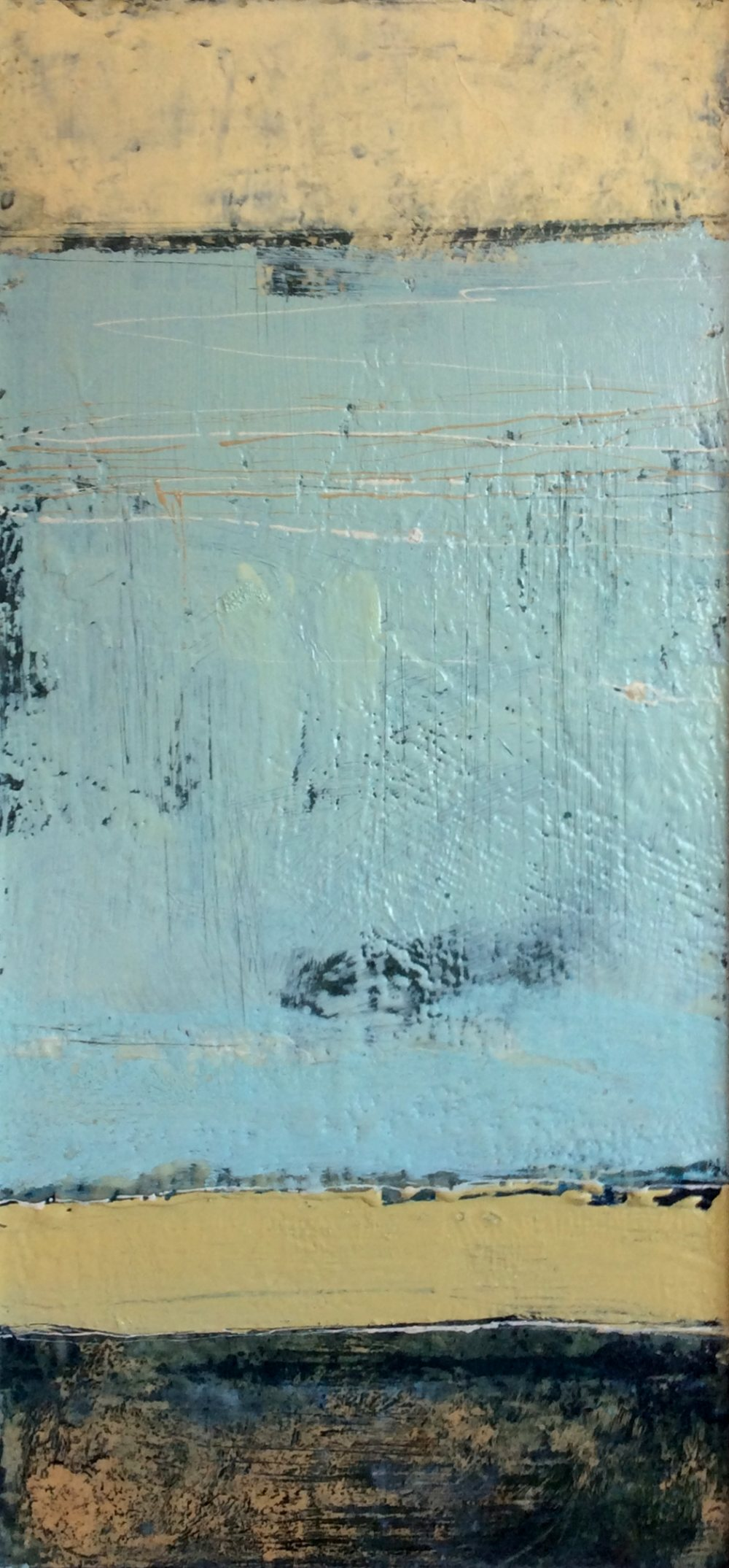 """Lot 7 - MICHAEL HALES (IRISH B.1971), """"THE DARKNESS DROPS AGAIN"""", encaustic & oils on board, inscribed and"""