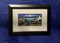 """J.P. ROONEY (B.1947) """"MOONLIGHT BAY"""" gouache on board, signed lower right, 15cm x 30cm approx image,"""