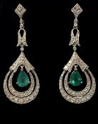 AN EXCEPTIONAL PAIR OF 18CT WHITE GOLD EMERALD & DIAMOND DROP EARRINGS, Art Deco style, handmade,