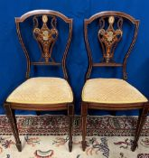A VERY FINE PAIR OF EDWARDIAN ROSEWOOD SIDE CHAIRS, with wonderful inlaid decoration to both, string