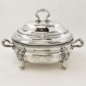 A MID 18TH CENTURY SILVER SOUP TUREEN, London, 1752, by William Cripps, with domed lid, gadrooned