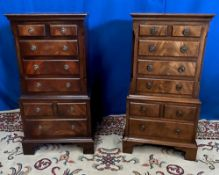 A PAIR OF GOOD QUALITY MINIATURE MAHOGANY CHEST ON CHESTS / OR LOCKERS, each with crossbanded