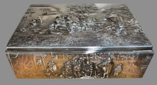 A FINE MID 20TH CENTURY DANISH SILVER BOX, hinged lid, with raised relief tavern scene motif on