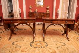 A FINE AND RARE PAIR OF GEORGE III MAHOGANY SOFA TABLES, with shaped cross stretcher, 72cm high x