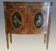 A 19TH CENTURY SATINWOOD & POLYCHROME DECORATED BOW FRONTED CABINET