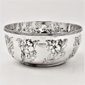 A VERY FINE TURN OF THE CENTURY SILVER BOWL, 1900, Atkin Bros of Sheffield, with simple reeded