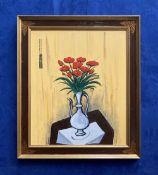 "JOHN SCHWATSCHKE (IRISH B. 1943) ""FLEURS"", oil on canvas, artist's monogram upper left, artist's"