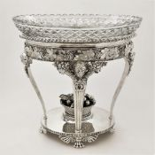 AN ORNATE EARLY 19TH CENTURY SILVER & GLASS CENTRE PIECE, London, 1811, J W Story & W Elliott, the