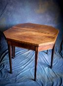 A PAIR OF FINE SATINWOOD, MAHOGANY AND ROSEWOOD INLAID SHERATON CARD TABLES with tapered leg,