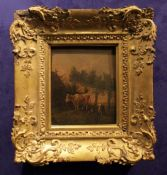 AFTER PAULUS POTTER (DUTCH 1625 to 1654) CATTLE BY A FARMSTEAD, oil on panel, unsigned, with