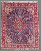A GOOD QUALITY VINTAGE HAND KNOTTED PERSIAN TABRIZ RUG, 365cm x 287cm approx