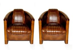 A PAIR OF TOP QUALITY LEATHER & CHERRY WOOD ART DECO STYLE CLUB ARMCHAIRS, in the 'Aviator' style,