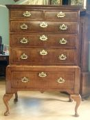 A SUPERB GEORGE II WALNUT & FEATHER BANDED CHEST ON STAND, the cross grain top moulding over an