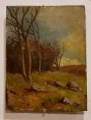 SAMUEL A. JAMES, EARLY SPRING LOUGH DAN, oil on panel, signed and dated 1914 verso, 33.5cm x 25.75cm