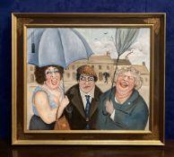 "JOHN SCHWATSCHKE (IRISH B. 1943) ""PATCHY DRIZZLE"", oil on canvas, artist's monogram upper left,"