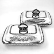 A VERY FINE PAIR OF IRISH EARLY 19TH CENTURY SILVER ENTRÉE DISHES, Dublin, 1828, by Charles Marsh,