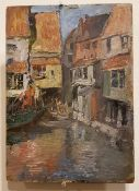 ATTRIB. TO SAMUEL A. JAMES, A VENITIAN CANAL SCENE, oil on panel, unsigned, from the John James