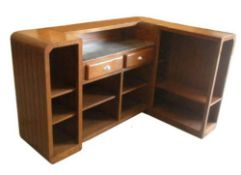 AN UNUSUAL CHERRY WOOD ART DECO STYLE BAR, with rounded corners and fluted design to the outside,