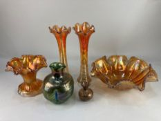 A 20th century opalescent studio glass vase of bulbous form, together with a small Venetian glass