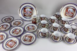 An RKG Czechoslovakian part tea set, decorated with panels of classical scenes, and gilt