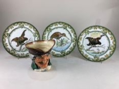 Three Royal Doulton plates depicting birds, one stamped Provence, together with a large Royal